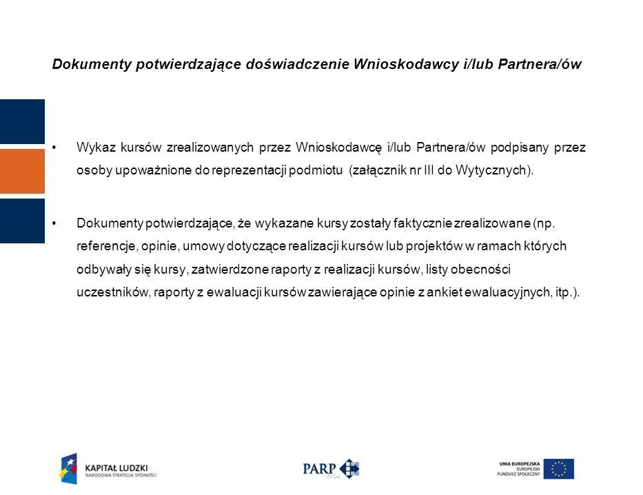 Dokumenty potwierdzające doświadczenie Wnioskodawcy i/lub Partnera/ów Wykaz kursów zrealizowanych przez Wnioskodawcę i/lub Partnera/ów podpisany przez osoby upoważnione do reprezentacji podmiotu (załącznik nr III do Wytycznych).
