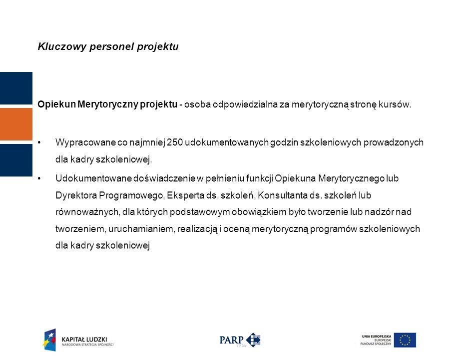 Kluczowy personel projektu Opiekun Merytoryczny projektu - osoba odpowiedzialna za merytoryczną stronę kursów.