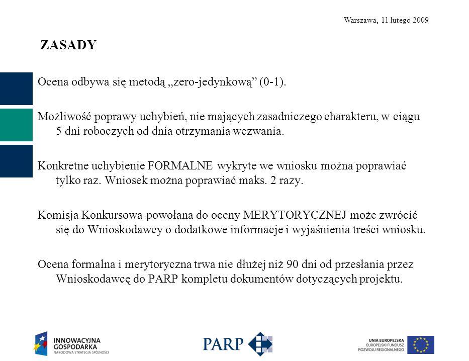 Warszawa, 11 lutego 2009 Wymogi formalne - wniosek 1.