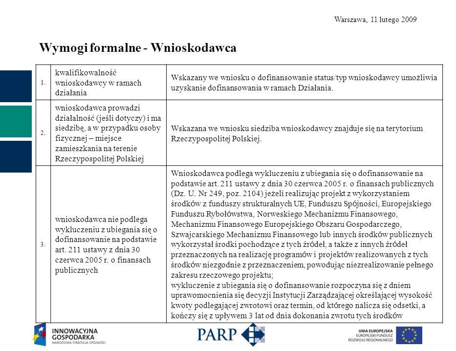 Warszawa, 11 lutego 2009 Wymogi formalne - Wnioskodawca 1.