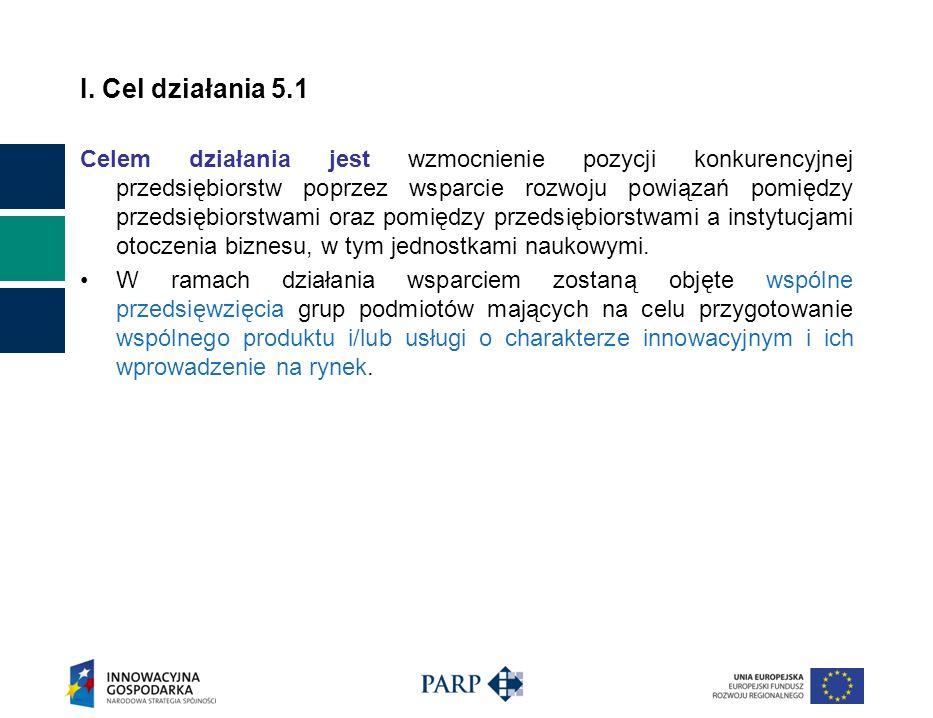 I. Cel działania 5.1 Celem działania jest wzmocnienie pozycji konkurencyjnej przedsiębiorstw poprzez wsparcie rozwoju powiązań pomiędzy przedsiębiorst