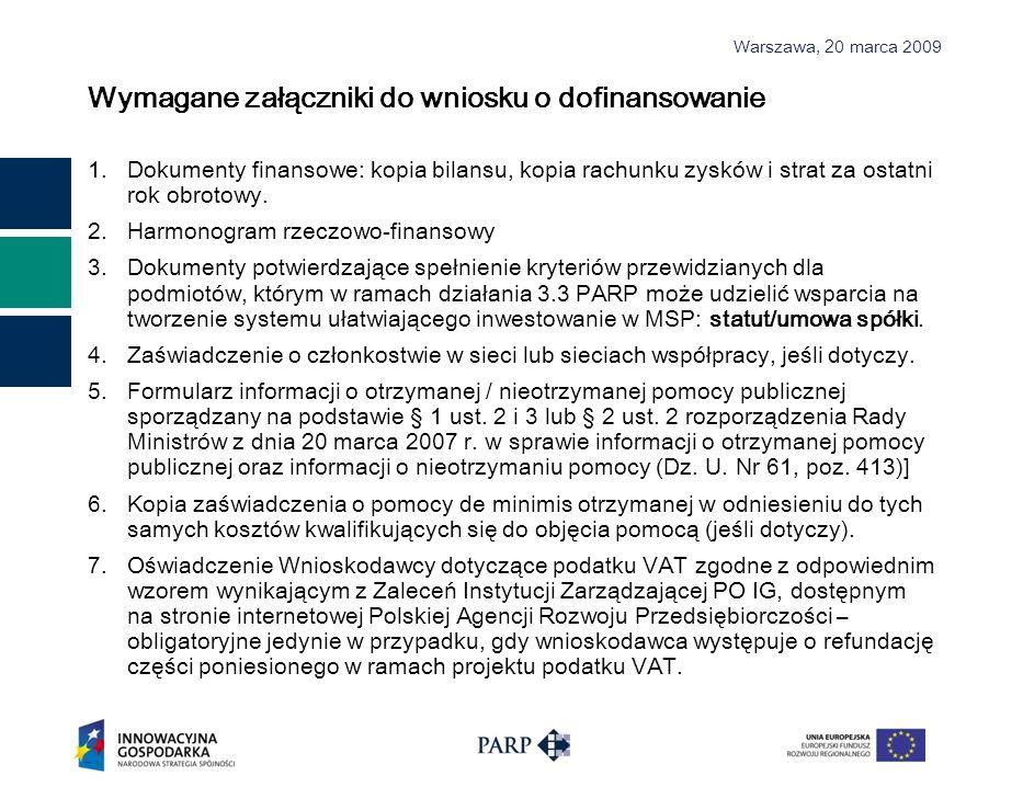 Warszawa, 2 0 marca 2009 Wymagane załączniki do wniosku o dofinansowanie 1.Dokumenty finansowe: kopia bilansu, kopia rachunku zysków i strat za ostatn