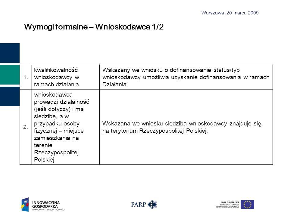 Warszawa, 2 0 marca 2009 Wymogi formalne – Wnioskodawca 1/2 1. kwalifikowalność wnioskodawcy w ramach działania Wskazany we wniosku o dofinansowanie s