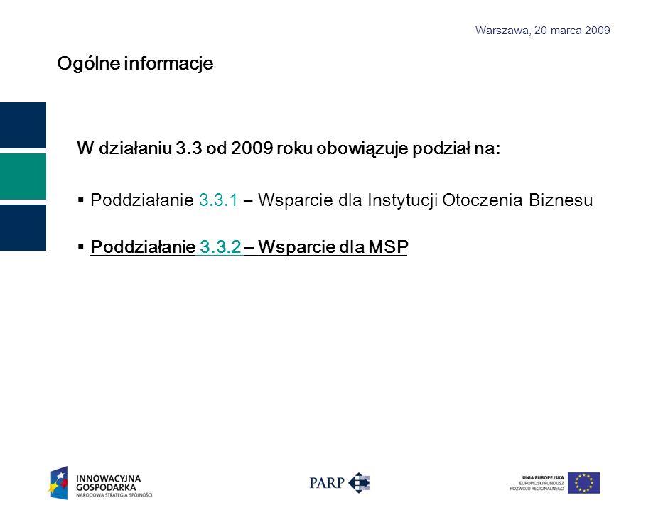 Warszawa, 2 0 marca 2009 Budżet Działania Działanie 3.3:50,0 mln EUR EFRR:42,5 mln EUR (85%) Bud ż et pa ń stwa:7,5 mln EUR (15%) Poddziałanie 3.3.2:25,0 mln EUR Poziom dofinansowania MSP – do 50% Kwota środków przeznaczonych w ramach Poddziałania 3.3.2 na dofinansowanie projektów w 2009 roku wynosi: 62 369 000 PLN (kurs Euro z dn.