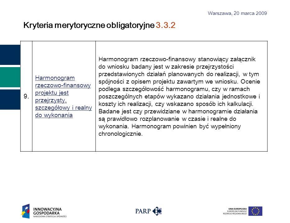 Warszawa, 2 0 marca 2009 Kryteria merytoryczne obligatoryjne 3.3.2 9. Harmonogram rzeczowo-finansowy projektu jest przejrzysty, szczegółowy i realny d