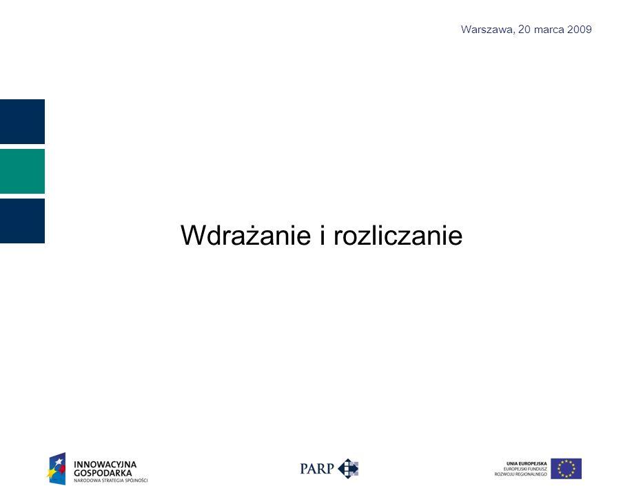 Warszawa, 2 0 marca 2009 Wdrażanie i rozliczanie