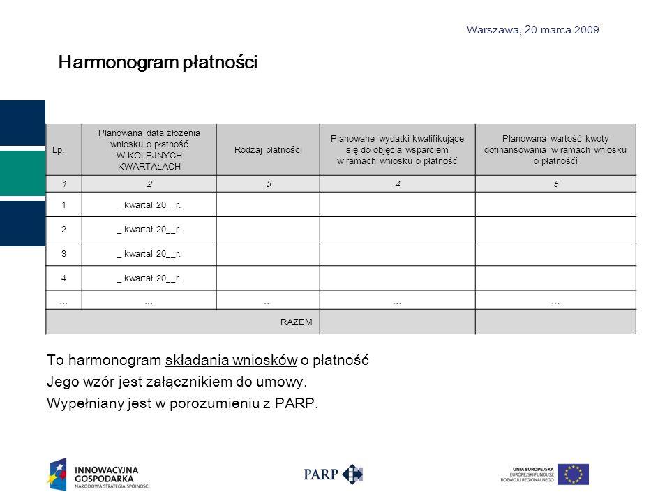 Warszawa, 2 0 marca 2009 Harmonogram płatności To harmonogram składania wniosków o płatność Jego wzór jest załącznikiem do umowy. Wypełniany jest w po