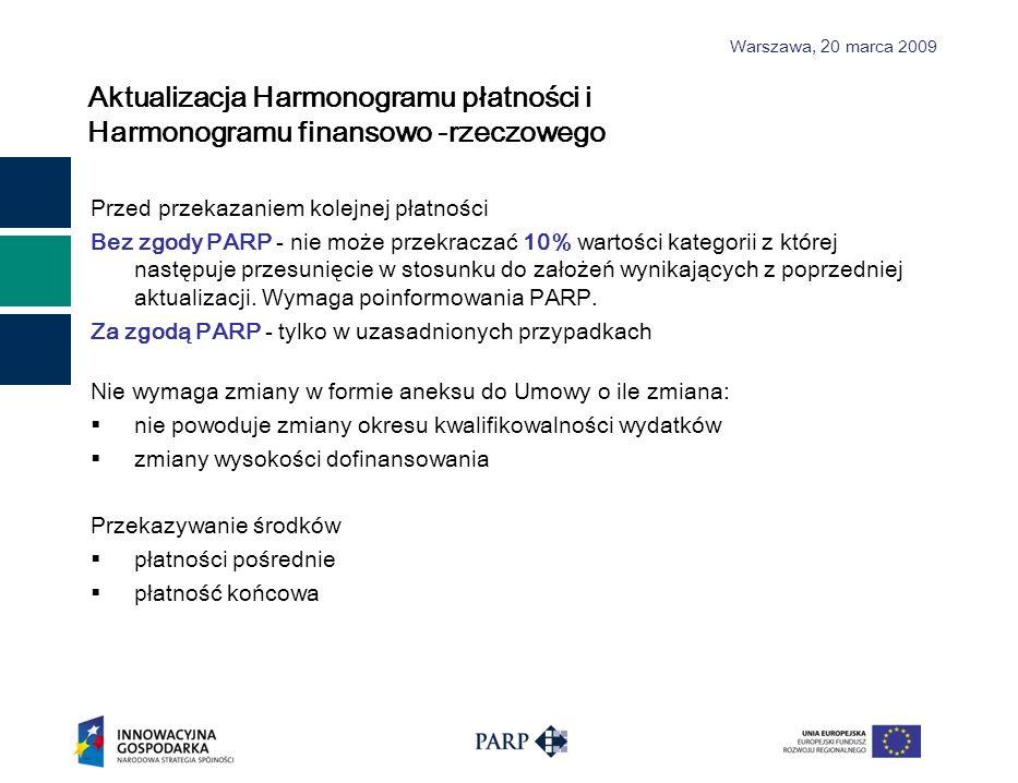 Warszawa, 2 0 marca 2009 Aktualizacja Harmonogramu płatności i Harmonogramu finansowo -rzeczowego Przed przekazaniem kolejnej płatności Bez zgody PARP