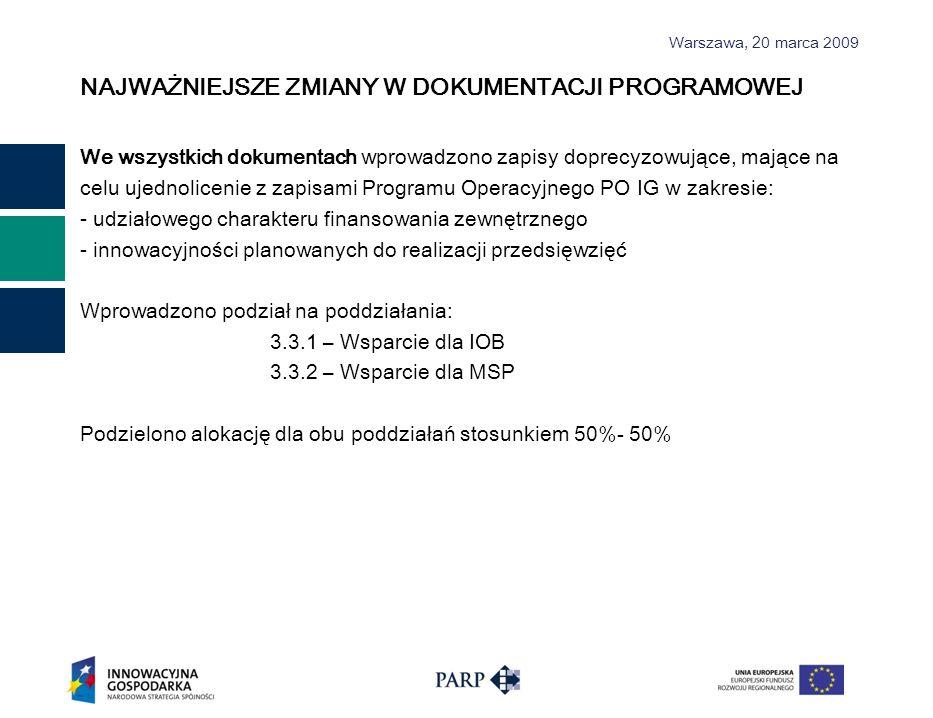 Warszawa, 2 0 marca 2009 NAJWAŻNIEJSZE ZMIANY W DOKUMENTACJI PROGRAMOWEJ We wszystkich dokumentach wprowadzono zapisy doprecyzowujące, mające na celu