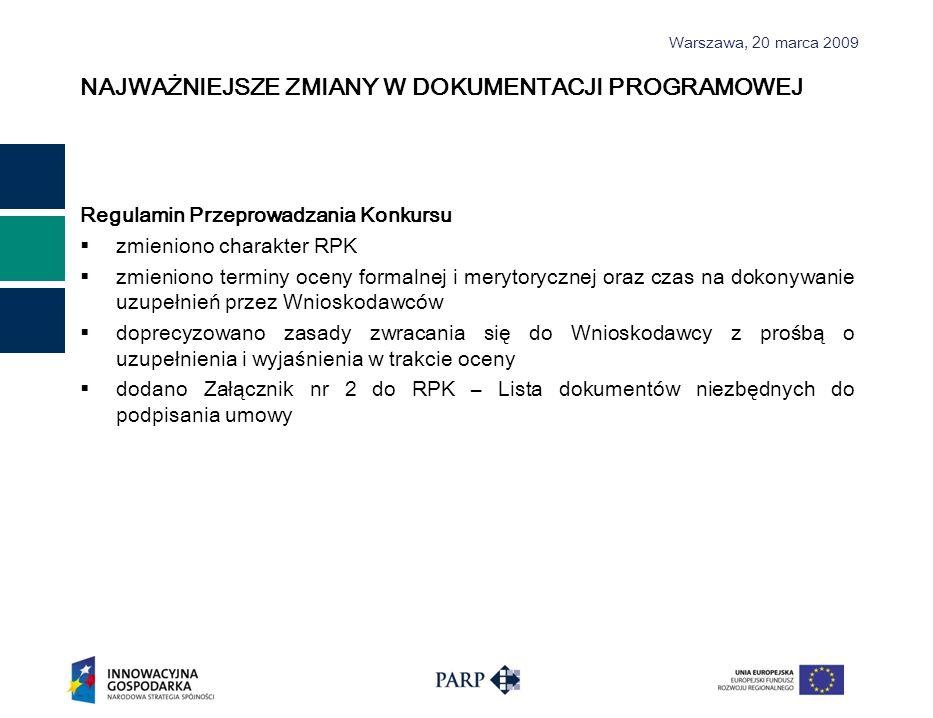 Warszawa, 2 0 marca 2009 NAJWAŻNIEJSZE ZMIANY W DOKUMENTACJI PROGRAMOWEJ Regulamin Przeprowadzania Konkursu zmieniono charakter RPK zmieniono terminy