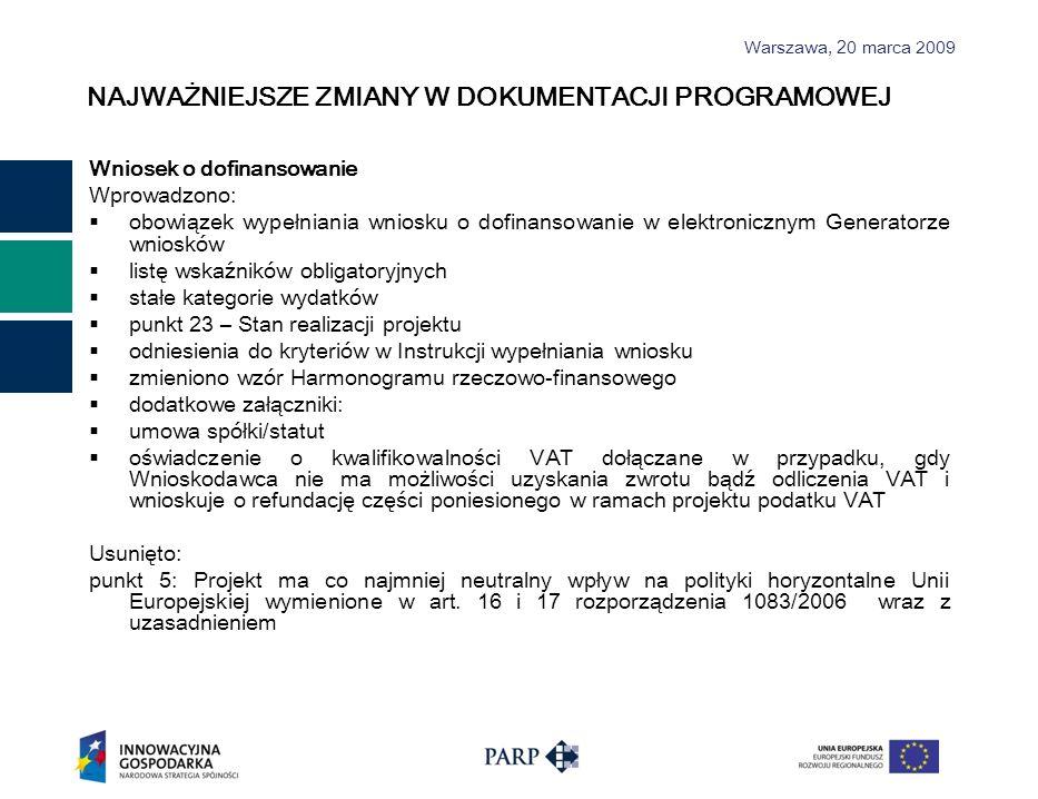 Warszawa, 2 0 marca 2009 NAJWAŻNIEJSZE ZMIANY W DOKUMENTACJI PROGRAMOWEJ Wniosek o dofinansowanie Wprowadzono: obowiązek wypełniania wniosku o dofinan