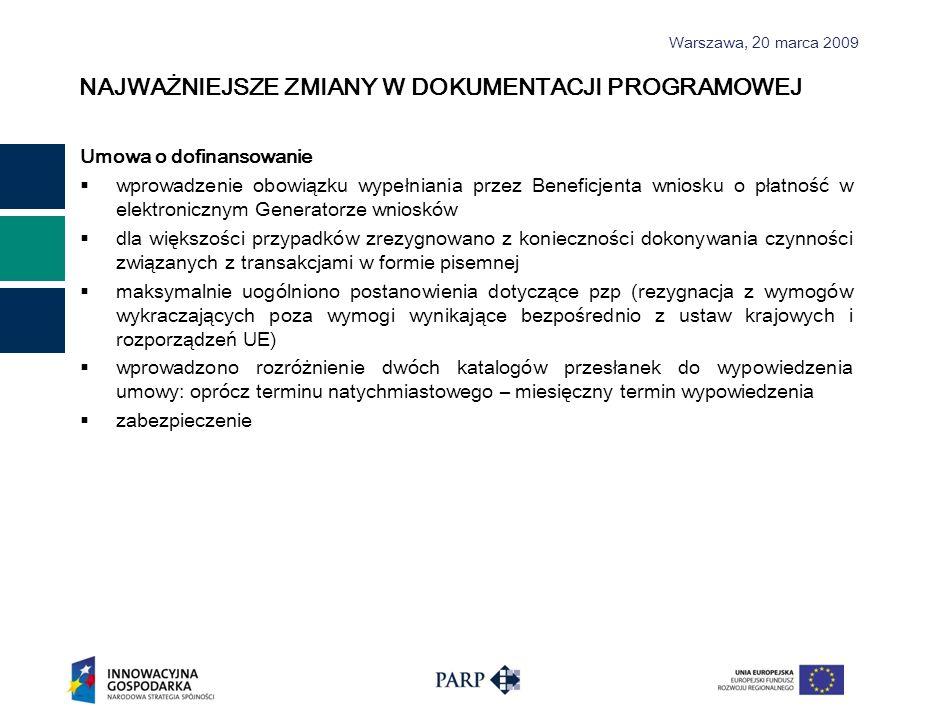 Warszawa, 2 0 marca 2009 NAJWAŻNIEJSZE ZMIANY W DOKUMENTACJI PROGRAMOWEJ Umowa o dofinansowanie wprowadzenie obowiązku wypełniania przez Beneficjenta