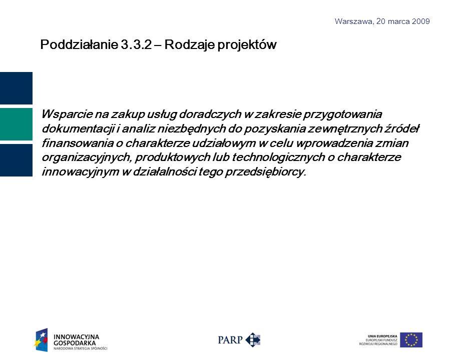 Warszawa, 2 0 marca 2009 Poddziałanie 3.3.2 – Rodzaje projektów Wsparcie na zakup usług doradczych w zakresie przygotowania dokumentacji i analiz niez