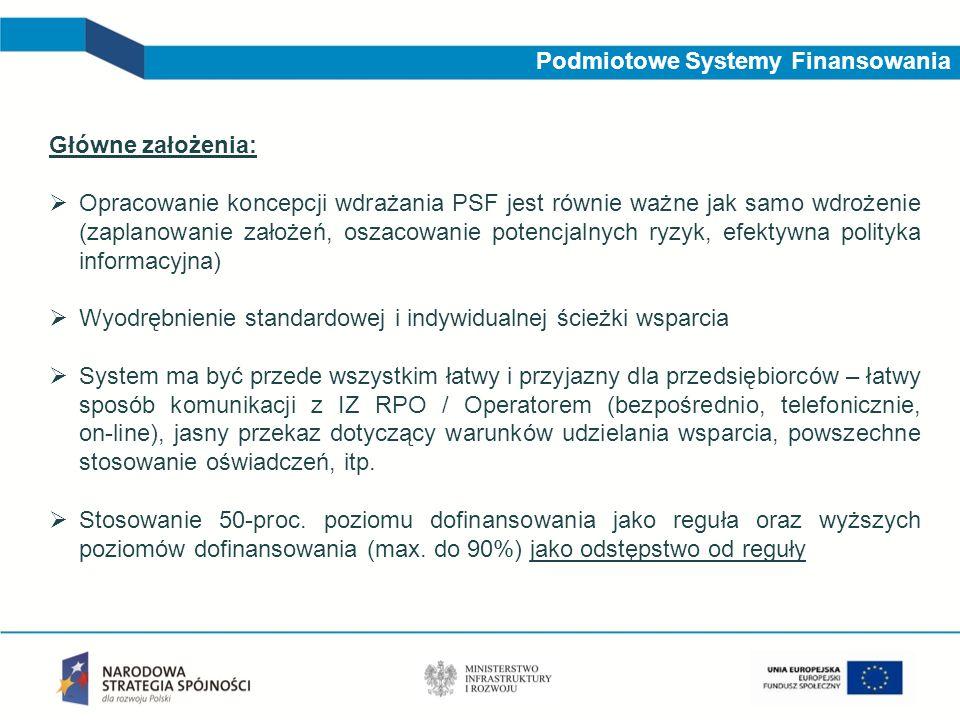 Podmiotowe Systemy Finansowania Główne założenia: Opracowanie koncepcji wdrażania PSF jest równie ważne jak samo wdrożenie (zaplanowanie założeń, osza