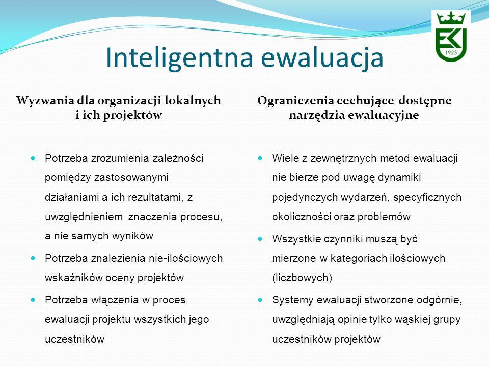Inteligentna ewaluacja Wyzwania dla organizacji lokalnych i ich projektów Ograniczenia cechujące dostępne narzędzia ewaluacyjne Potrzeba zrozumienia z