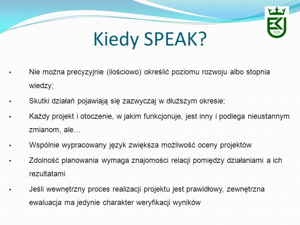 Kiedy SPEAK? Nie można precyzyjnie (ilościowo) określić poziomu rozwoju albo stopnia wiedzy; Skutki działań pojawiają się zazwyczaj w dłuższym okresie