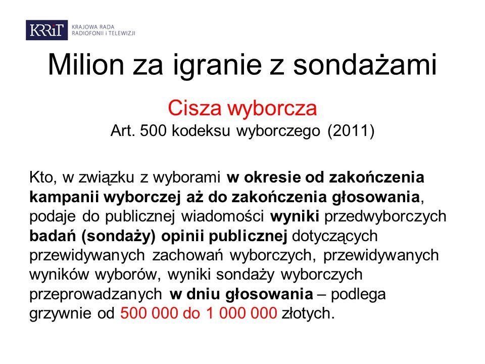 Milion za igranie z sondażami Cisza wyborcza Art. 500 kodeksu wyborczego (2011) Kto, w związku z wyborami w okresie od zakończenia kampanii wyborczej