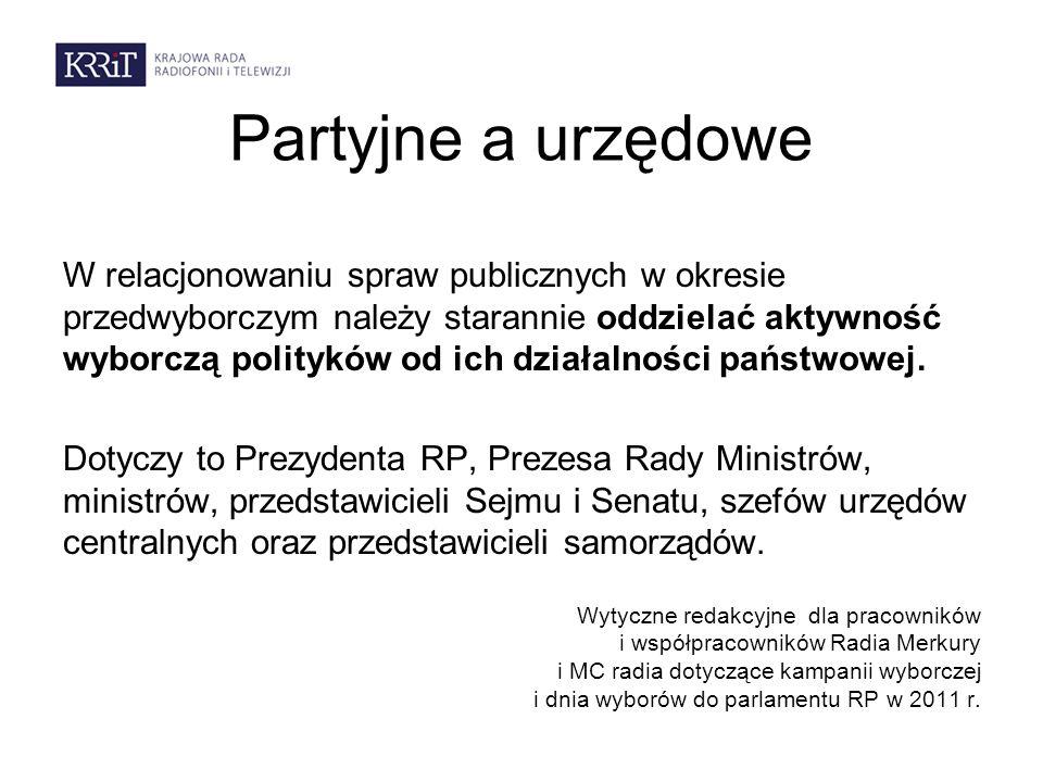 Partyjne a urzędowe W relacjonowaniu spraw publicznych w okresie przedwyborczym należy starannie oddzielać aktywność wyborczą polityków od ich działal