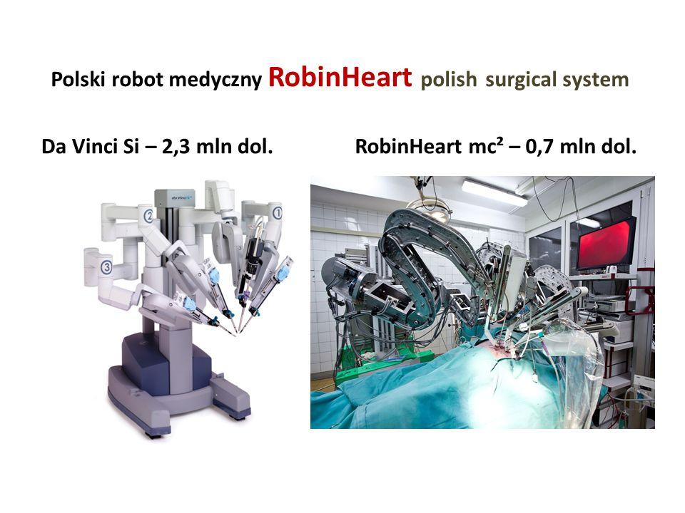 Polski robot medyczny RobinHeart polish surgical system Da Vinci Si – 2,3 mln dol.RobinHeart mc² – 0,7 mln dol.