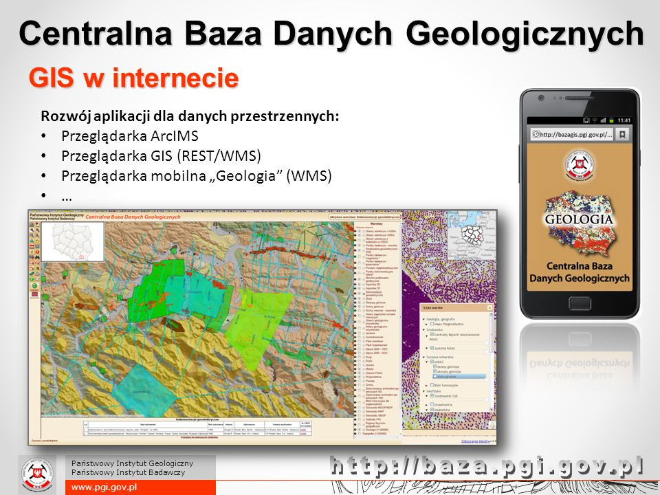 Centralna Baza Danych Geologicznych www.pgi.gov.pl Państwowy Instytut Geologiczny Państwowy Instytut Badawczy Rozwój aplikacji dla danych przestrzenny