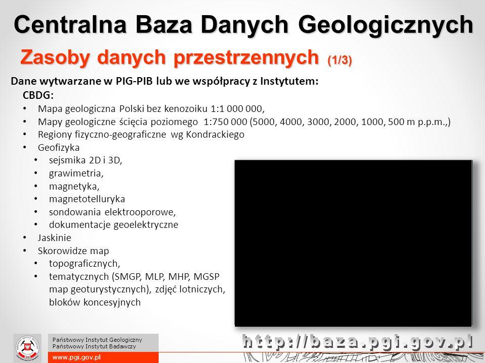 Centralna Baza Danych Geologicznych www.pgi.gov.pl Państwowy Instytut Geologiczny Państwowy Instytut Badawczy Zasoby danych przestrzennych (1/3) Dane