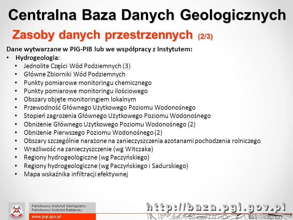 Centralna Baza Danych Geologicznych www.pgi.gov.pl Państwowy Instytut Geologiczny Państwowy Instytut Badawczy Zasoby danych przestrzennych (2/3) Dane