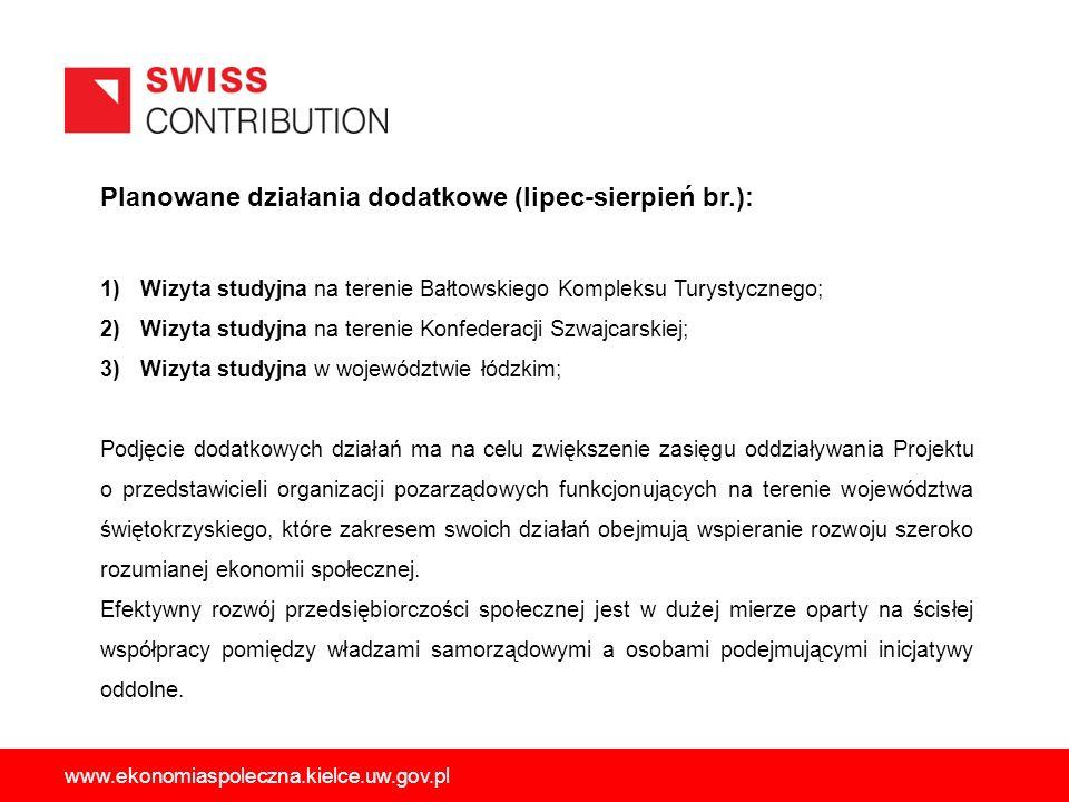 Planowane działania dodatkowe (lipec-sierpień br.): 1)Wizyta studyjna na terenie Bałtowskiego Kompleksu Turystycznego; 2)Wizyta studyjna na terenie Ko