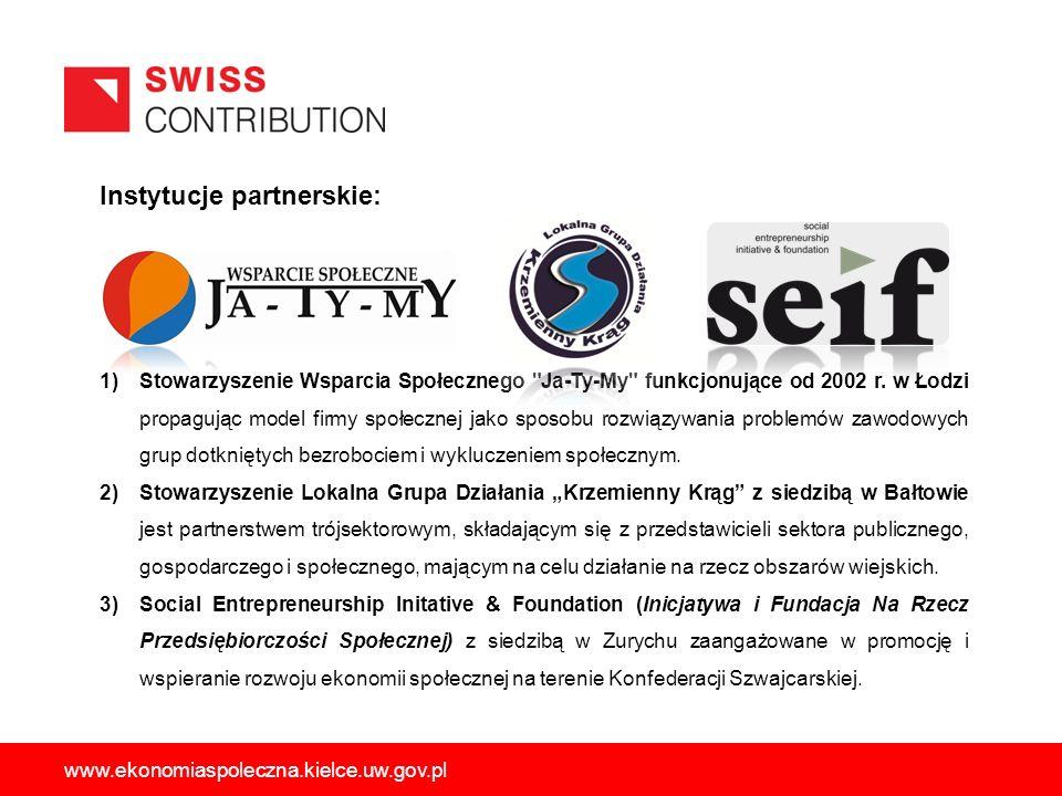 Instytucje partnerskie: 1)Stowarzyszenie Wsparcia Społecznego Ja-Ty-My funkcjonujące od 2002 r.
