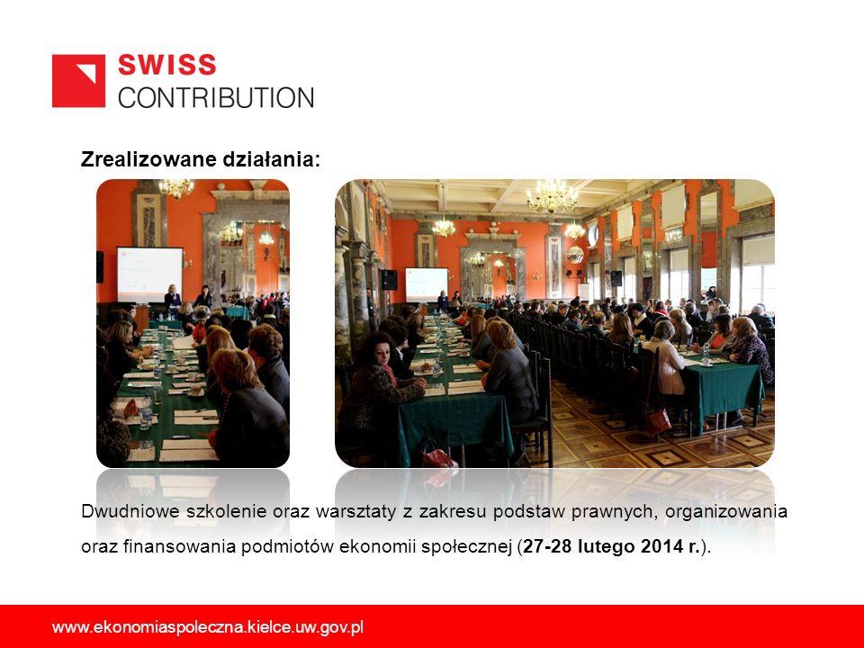 Zrealizowane działania: Dwudniowe szkolenie oraz warsztaty z zakresu podstaw prawnych, organizowania oraz finansowania podmiotów ekonomii społecznej (27-28 lutego 2014 r.).