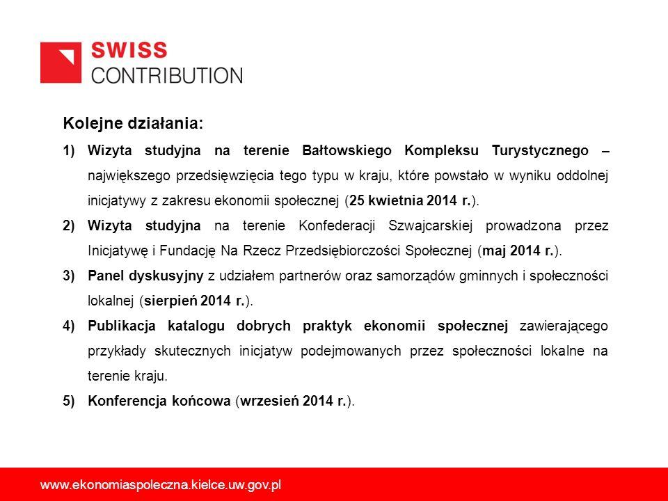 Planowane działania dodatkowe (lipec-sierpień br.): 1)Wizyta studyjna na terenie Bałtowskiego Kompleksu Turystycznego; 2)Wizyta studyjna na terenie Konfederacji Szwajcarskiej; 3)Wizyta studyjna w województwie łódzkim; Podjęcie dodatkowych działań ma na celu zwiększenie zasięgu oddziaływania Projektu o przedstawicieli organizacji pozarządowych funkcjonujących na terenie województwa świętokrzyskiego, które zakresem swoich działań obejmują wspieranie rozwoju szeroko rozumianej ekonomii społecznej.