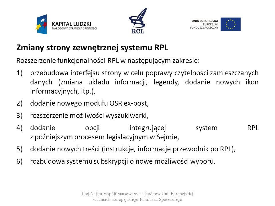 Zmiany strony zewnętrznej systemu RPL Rozszerzenie funkcjonalności RPL w następującym zakresie: 1)przebudowa interfejsu strony w celu poprawy czytelno