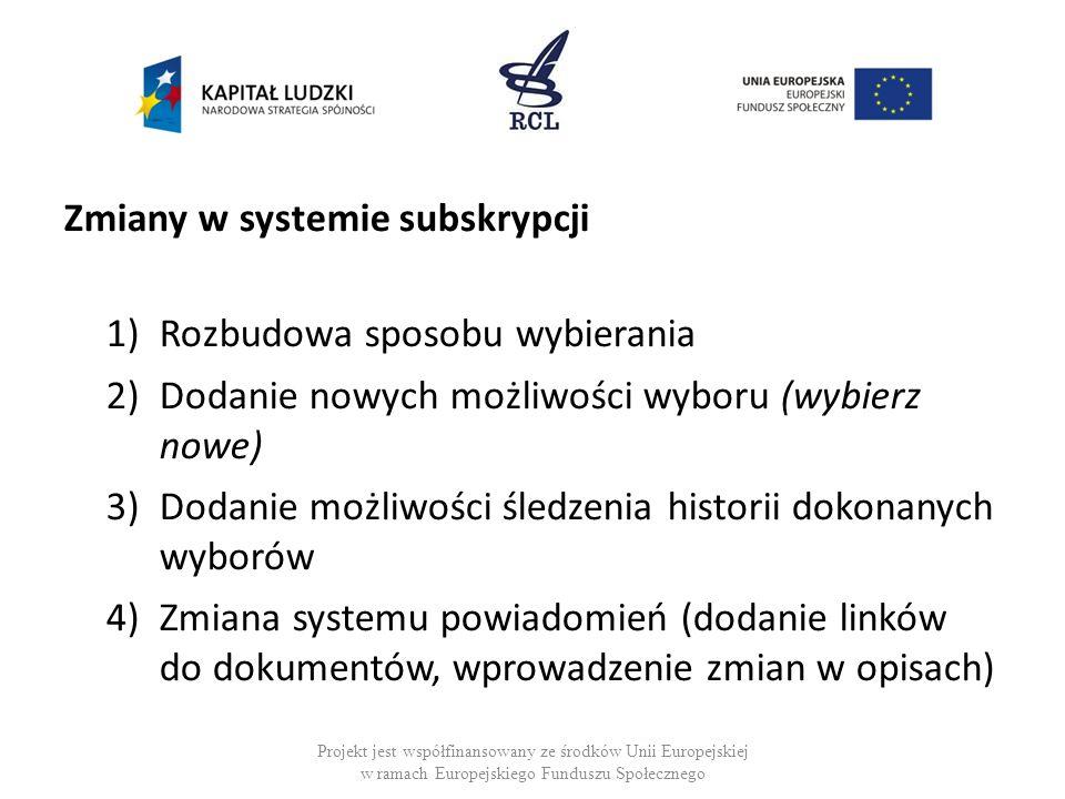 Zmiany w systemie subskrypcji 1)Rozbudowa sposobu wybierania 2)Dodanie nowych możliwości wyboru (wybierz nowe) 3)Dodanie możliwości śledzenia historii dokonanych wyborów 4)Zmiana systemu powiadomień (dodanie linków do dokumentów, wprowadzenie zmian w opisach) Projekt jest współfinansowany ze środków Unii Europejskiej w ramach Europejskiego Funduszu Społecznego