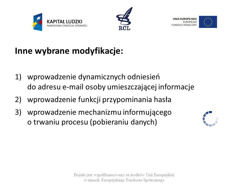 Inne wybrane modyfikacje: 1)wprowadzenie dynamicznych odniesień do adresu e-mail osoby umieszczającej informacje 2)wprowadzenie funkcji przypominania hasła 3)wprowadzenie mechanizmu informującego o trwaniu procesu (pobieraniu danych) Projekt jest współfinansowany ze środków Unii Europejskiej w ramach Europejskiego Funduszu Społecznego