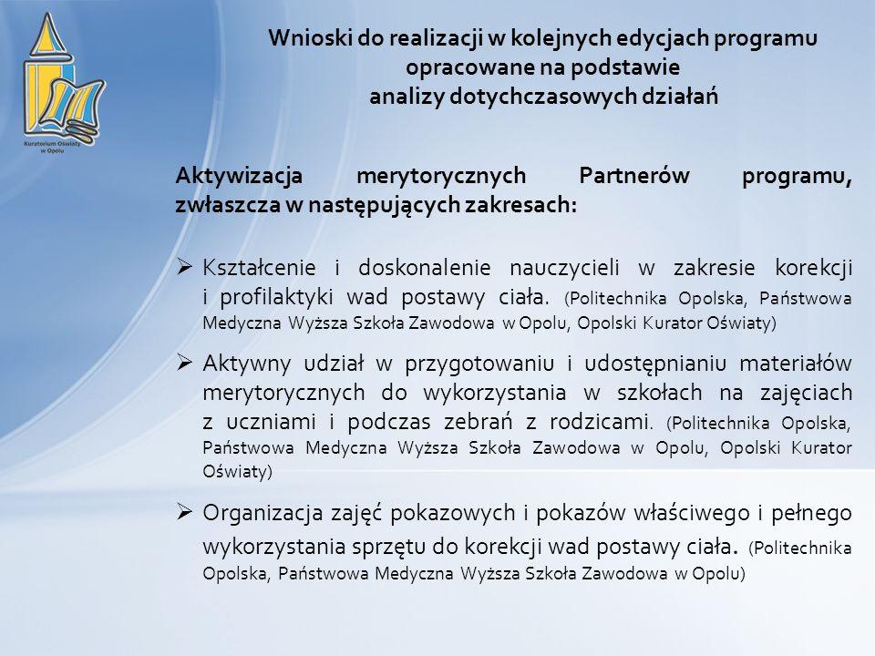 Aktywizacja merytorycznych Partnerów programu, zwłaszcza w następujących zakresach: Kształcenie i doskonalenie nauczycieli w zakresie korekcji i prof