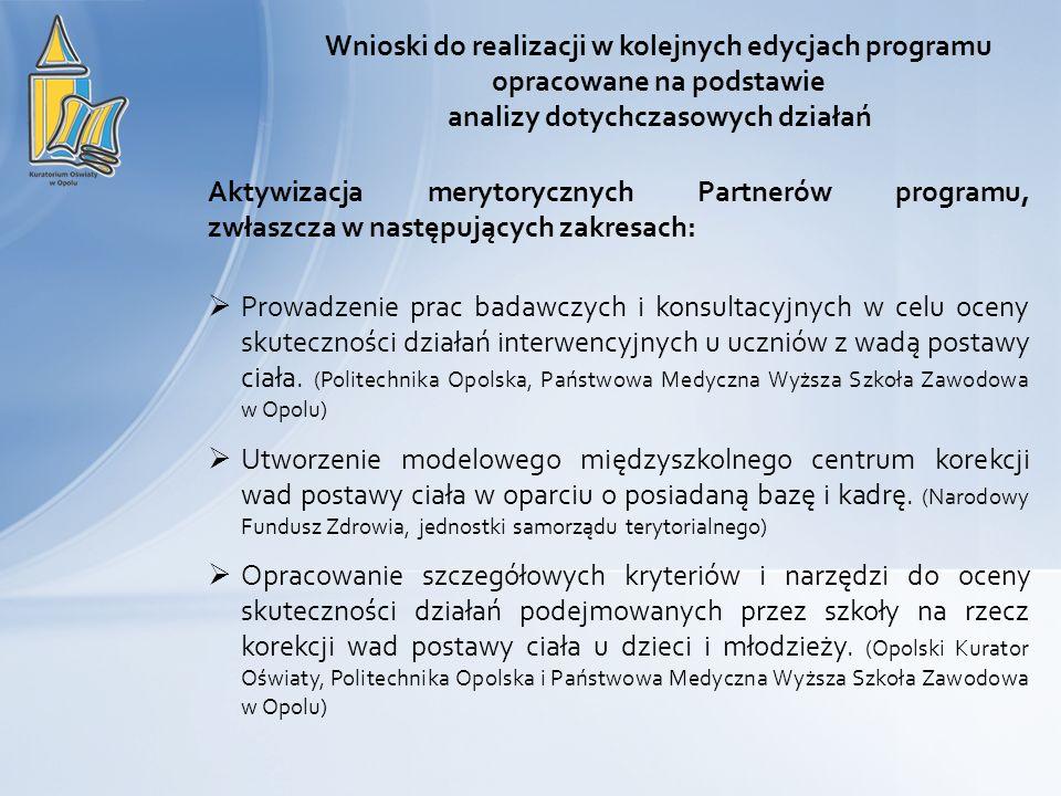 Aktywizacja merytorycznych Partnerów programu, zwłaszcza w następujących zakresach: Prowadzenie prac badawczych i konsultacyjnych w celu oceny skutec