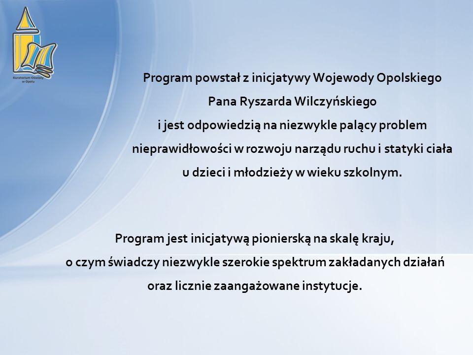 Program powstał z inicjatywy Wojewody Opolskiego Pana Ryszarda Wilczyńskiego i jest odpowiedzią na niezwykle palący problem nieprawidłowości w rozwoju
