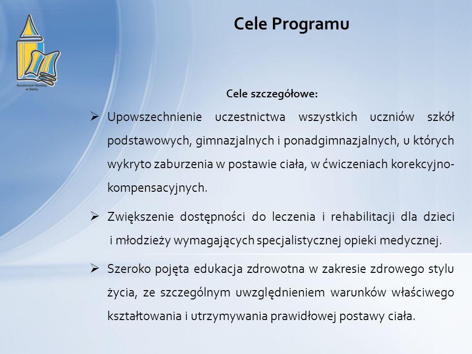 Cele Programu Cele szczegółowe: Upowszechnienie uczestnictwa wszystkich uczniów szkół podstawowych, gimnazjalnych i ponadgimnazjalnych, u których wykr
