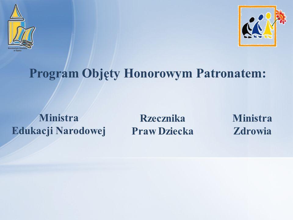 Program Objęty Honorowym Patronatem: Ministra Edukacji Narodowej Rzecznika Praw Dziecka Ministra Zdrowia