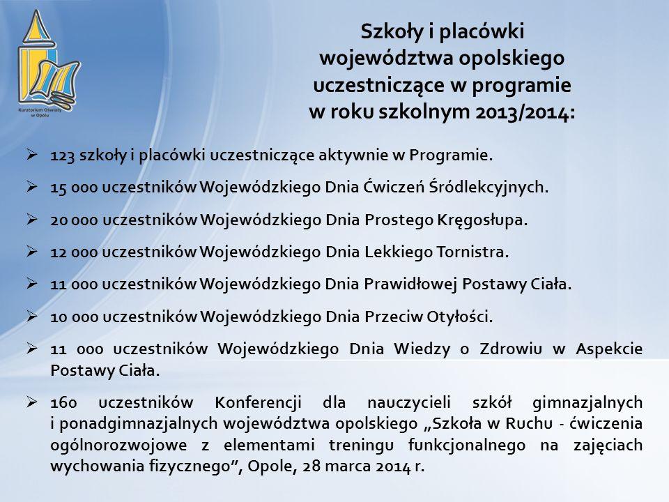 Szkoły i placówki województwa opolskiego uczestniczące w programie w roku szkolnym 2013/2014: 123 szkoły i placówki uczestniczące aktywnie w Programie