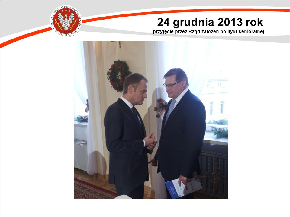24 grudnia 2013 rok przyjęcie przez Rząd założeń polityki senioralnej