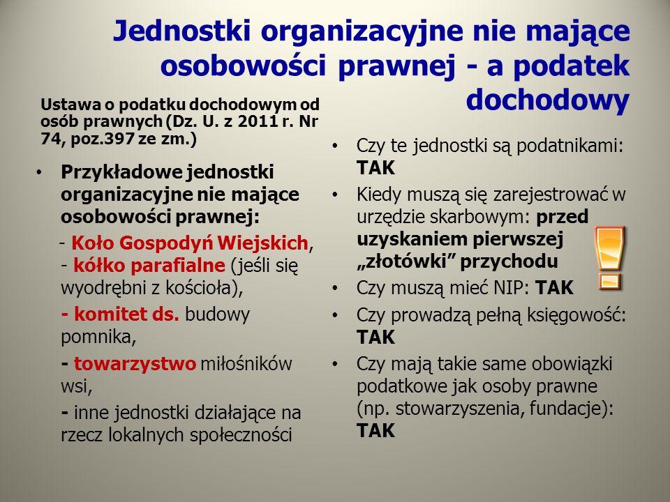 Jednostki organizacyjne nie mające osobowości prawnej - a podatek dochodowy Ustawa o podatku dochodowym od osób prawnych (Dz. U. z 2011 r. Nr 74, poz.