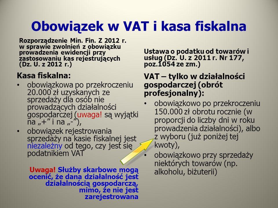 Obowiązek w VAT i kasa fiskalna Rozporządzenie Min. Fin. Z 2012 r. w sprawie zwolnień z obowiązku prowadzenia ewidencji przy zastosowaniu kas rejestru