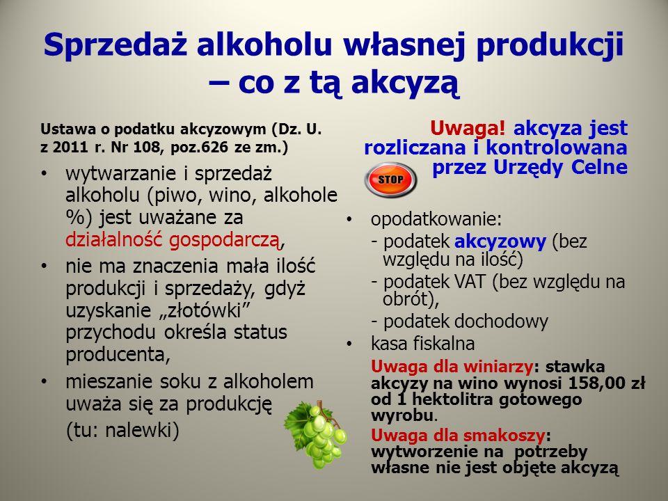 Sprzedaż alkoholu własnej produkcji – co z tą akcyzą Ustawa o podatku akcyzowym (Dz. U. z 2011 r. Nr 108, poz.626 ze zm.) wytwarzanie i sprzedaż alkoh