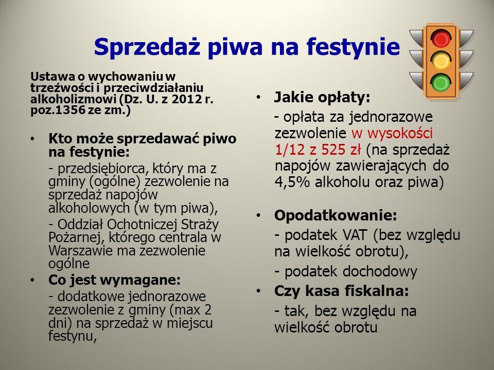 Sprzedaż piwa na festynie Ustawa o wychowaniu w trzeźwości i przeciwdziałaniu alkoholizmowi (Dz. U. z 2012 r. poz.1356 ze zm.) Kto może sprzedawać piw