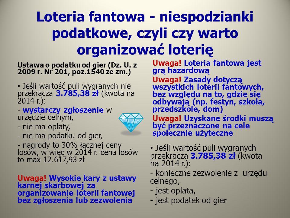 Loteria fantowa - niespodzianki podatkowe, czyli czy warto organizować loterię Ustawa o podatku od gier (Dz. U. z 2009 r. Nr 201, poz.1540 ze zm.) Jeś