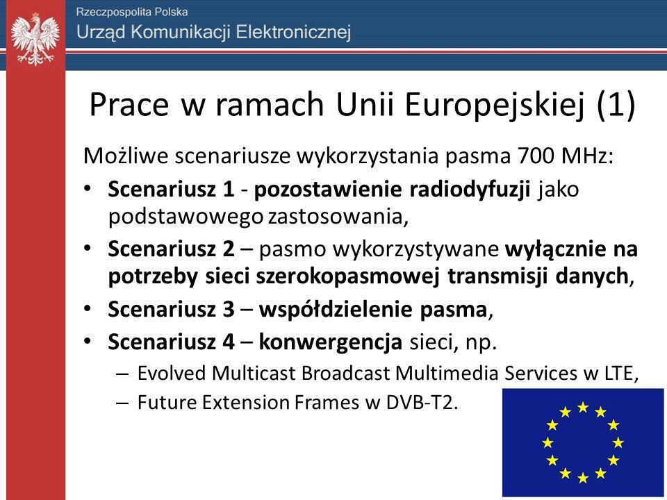 Prace w ramach Unii Europejskiej (1) Możliwe scenariusze wykorzystania pasma 700 MHz: Scenariusz 1 - pozostawienie radiodyfuzji jako podstawowego zast