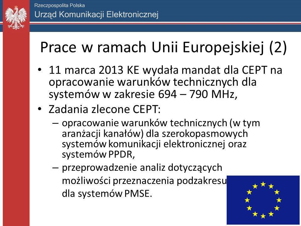 Prace w ramach Unii Europejskiej (2) 11 marca 2013 KE wydała mandat dla CEPT na opracowanie warunków technicznych dla systemów w zakresie 694 – 790 MH