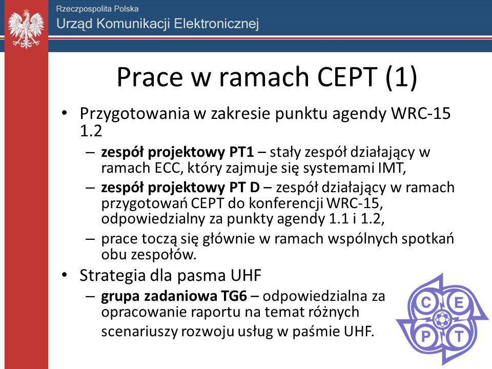 Prace w ramach CEPT (1) Przygotowania w zakresie punktu agendy WRC-15 1.2 – zespół projektowy PT1 – stały zespół działający w ramach ECC, który zajmuj