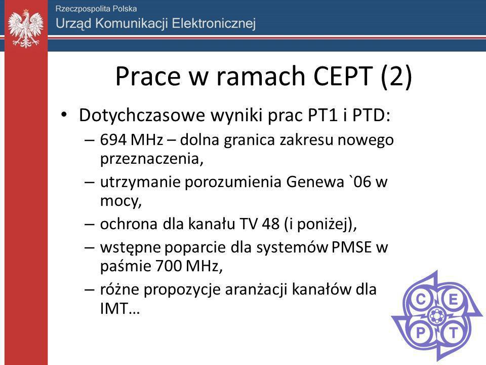 Prace w ramach CEPT (2) Dotychczasowe wyniki prac PT1 i PTD: – 694 MHz – dolna granica zakresu nowego przeznaczenia, – utrzymanie porozumienia Genewa