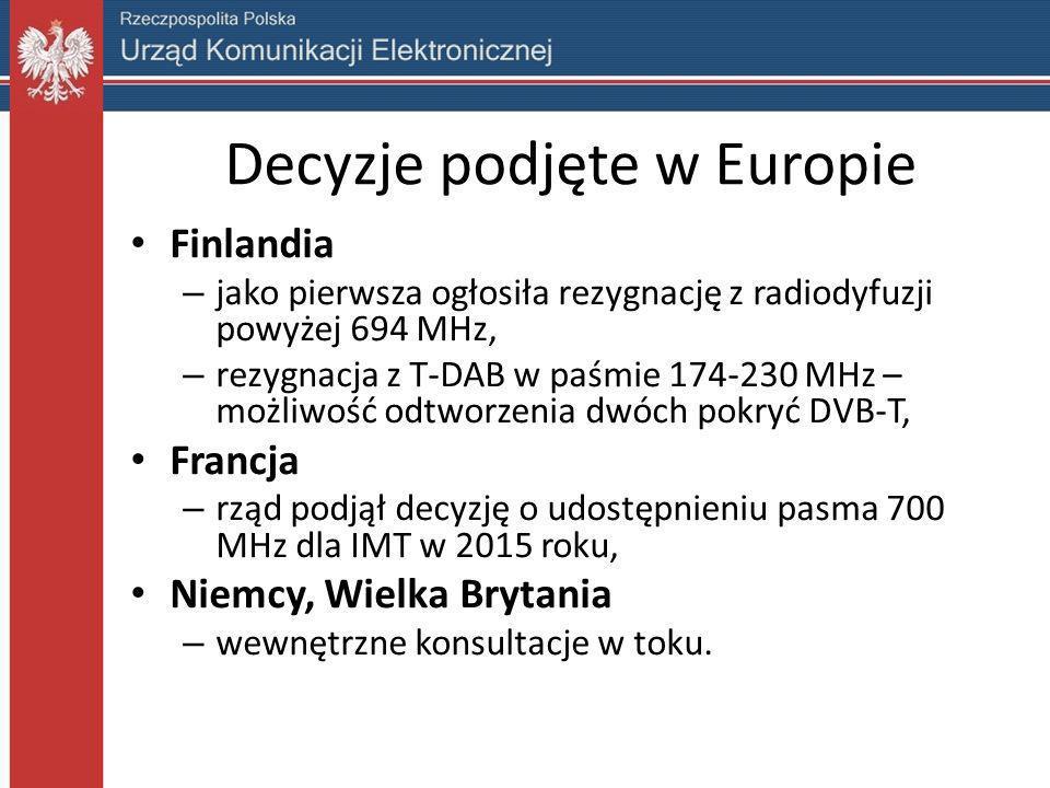 Decyzje podjęte w Europie Finlandia – jako pierwsza ogłosiła rezygnację z radiodyfuzji powyżej 694 MHz, – rezygnacja z T-DAB w paśmie 174-230 MHz – mo